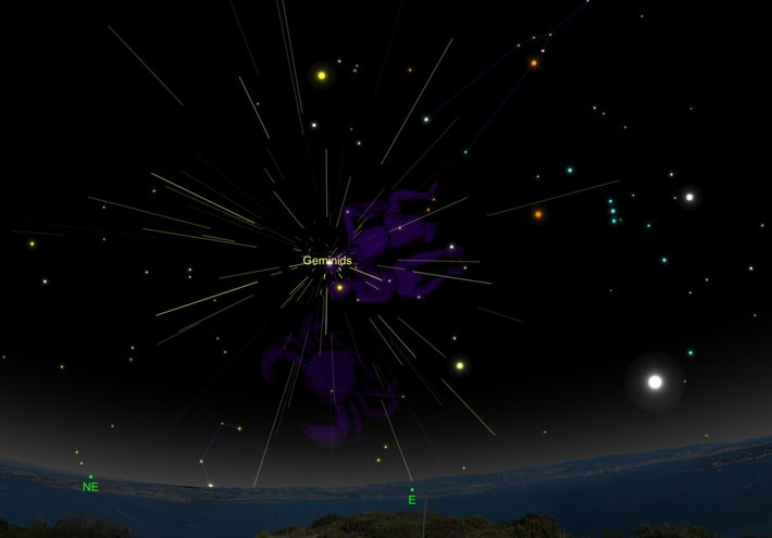 The Geminid meteor shower will seem to radiate from its namesake constellation, Gemini, the twins.