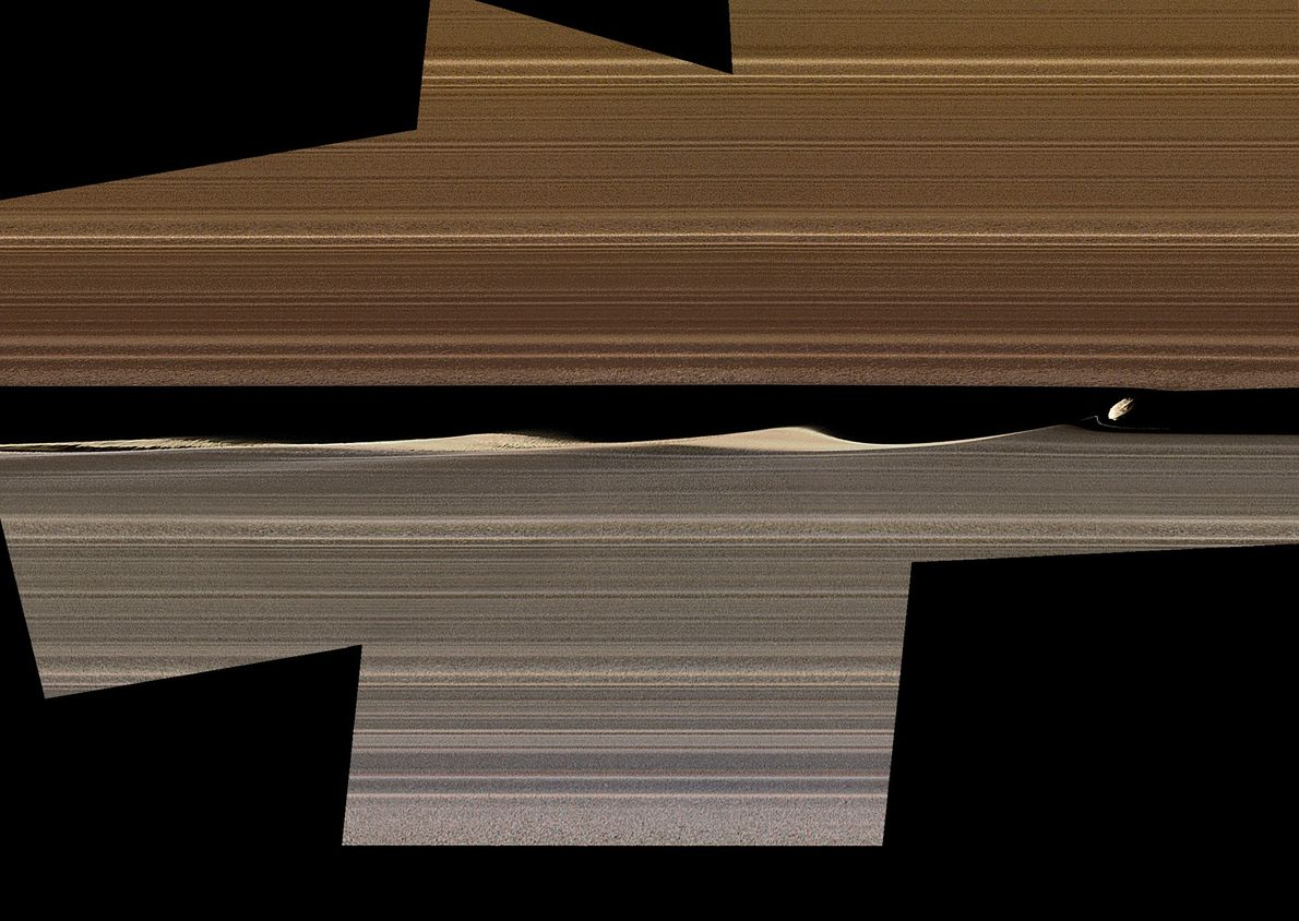 This enhanced-colour mosaic shows Daphnis, one of the moons in Saturn's rings, kicking up three waves ...