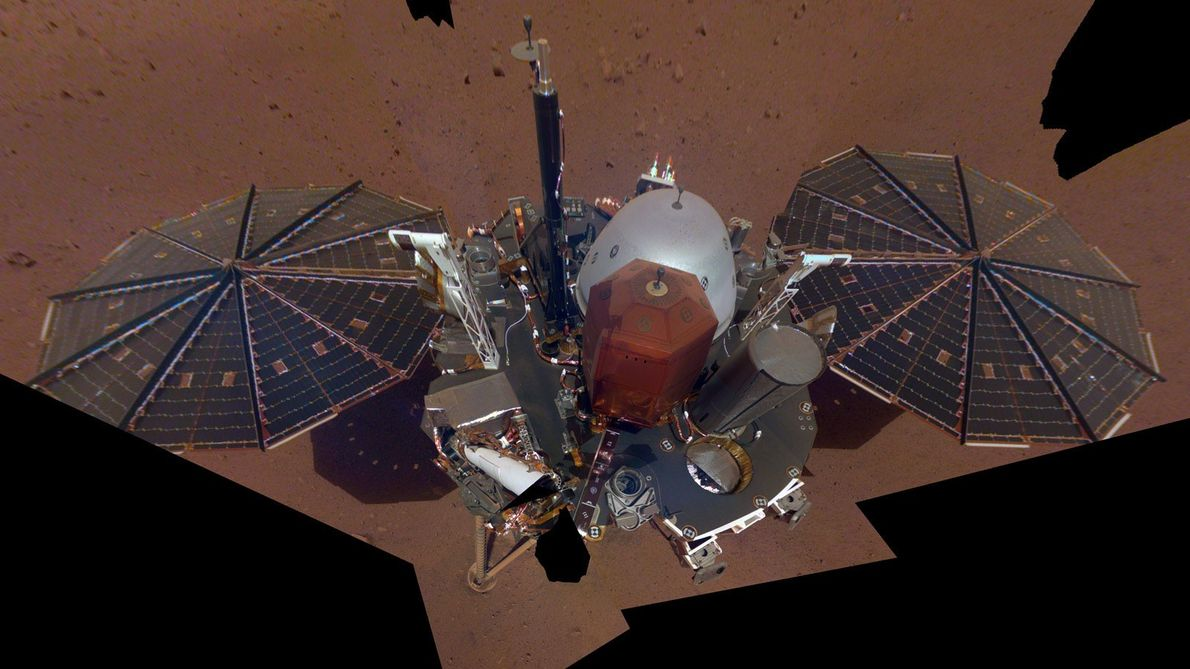 NASA's InSight Mars lander captured its first full-body selfie on Mars on December 6, 2018. The ...