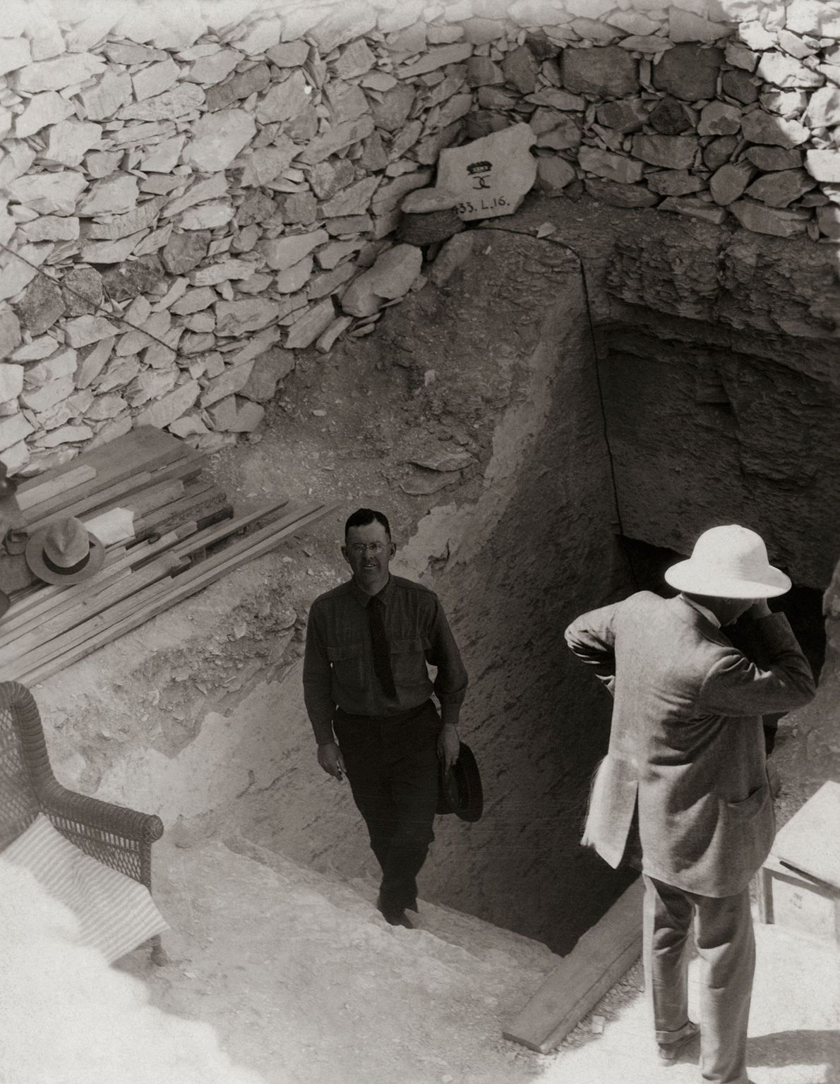 National Geographic correspondent Maynard Owen Williams emerges from Tut's tomb on the morning after its official ...