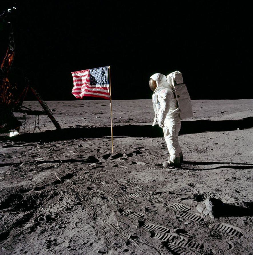 Buzz Aldrin walks on the moon—and leaves his footprints. He famously described the lunar landscape as ...