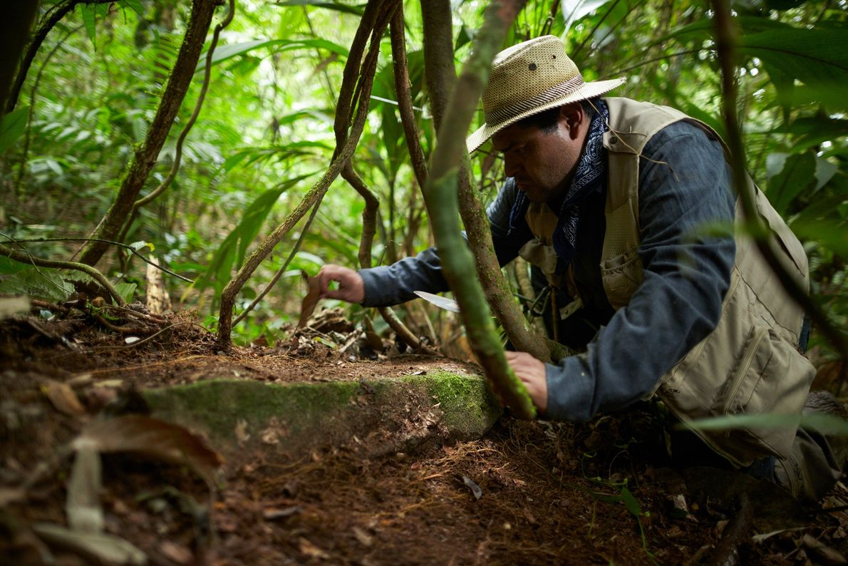 Archaeologist Oscar Neil Cruz of the Honduran Institute of Anthropology and History examines a building stone ...