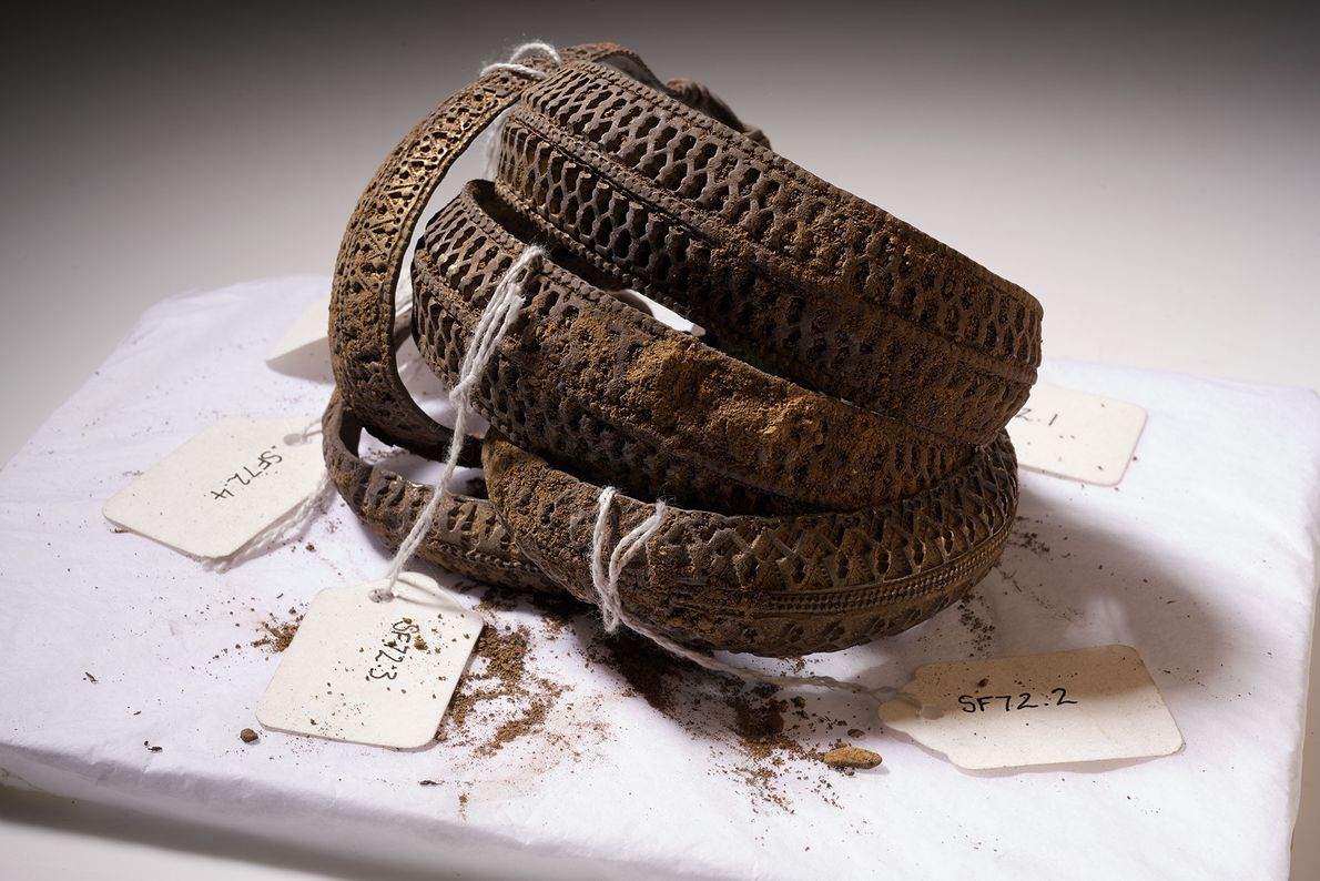 A tangle of silver arm rings lay in the hoard's upper layer. Viking elites used such ...