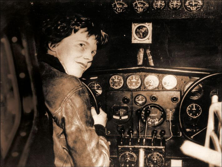 Amelia Earhart in the cockpit of her Lockheed Electra before it vanished in 1937.