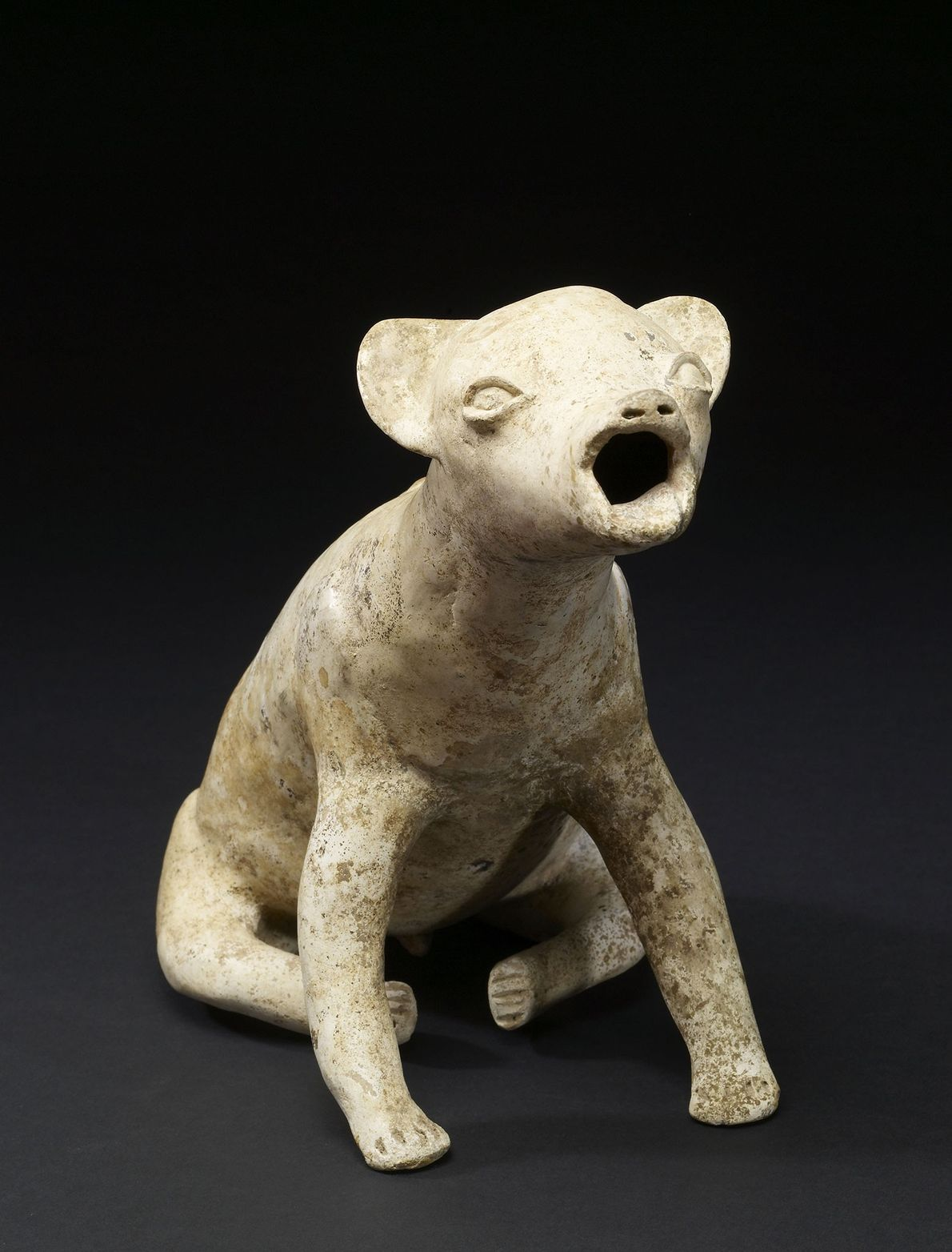 This howling dog, crafted by the Colima of western Mexico some 2,000 years ago, may depict ...