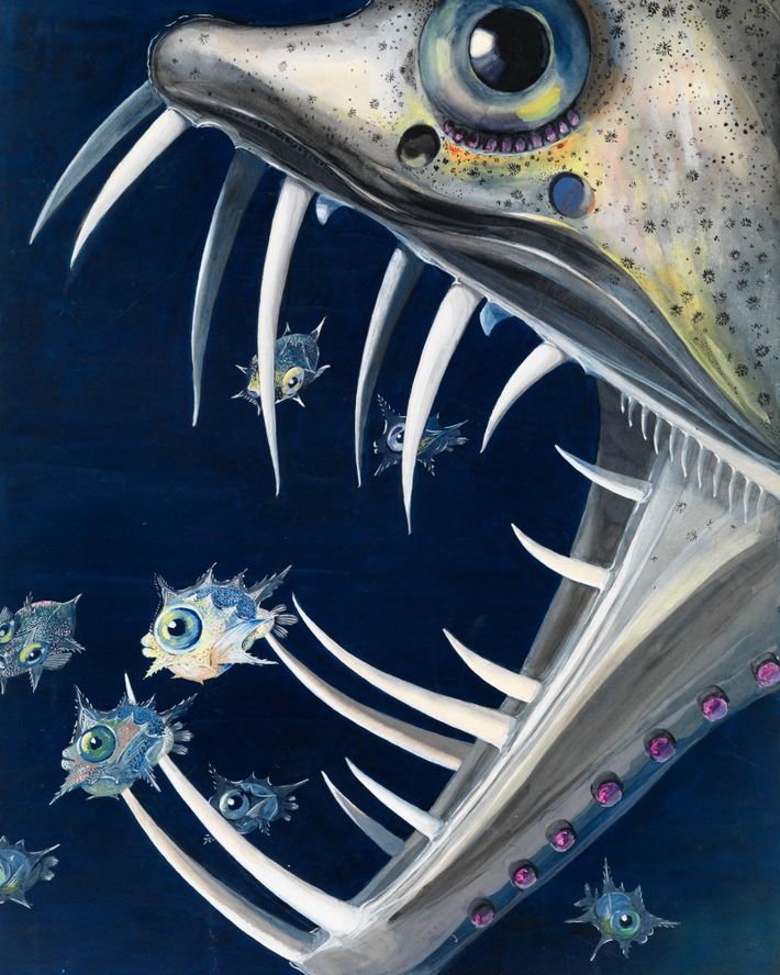 A sabre-toothed viperfish attacks young ocean sunfish.