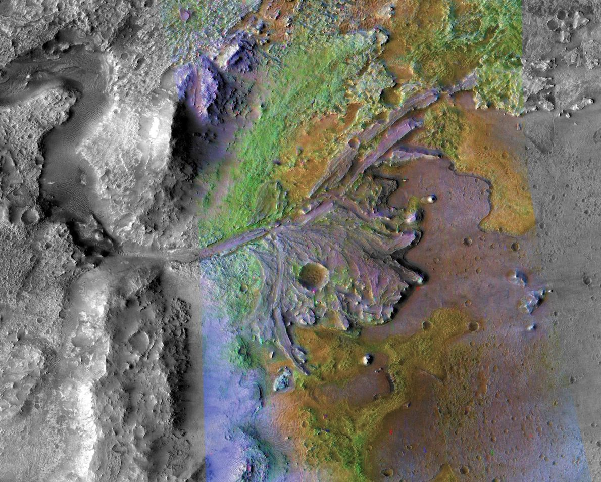 This colourful image from NASA's Mars Reconnaissance Orbiter (MRO) features the red planet's Jezero Crater, where ...