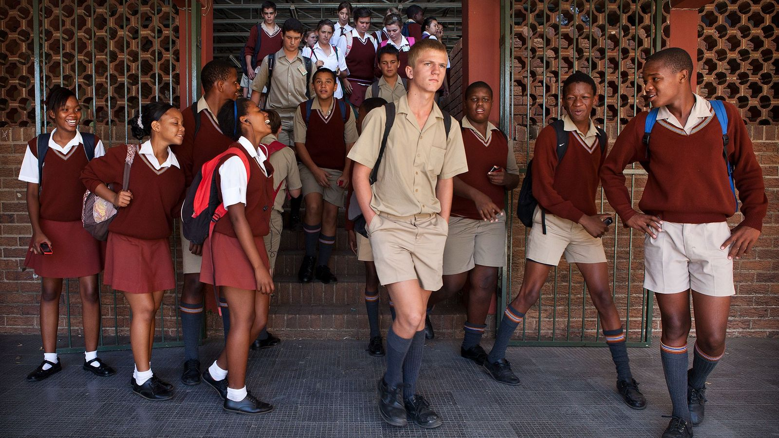 Students of Tom Naudé High School in Polokwane, head from one class to the other when ...
