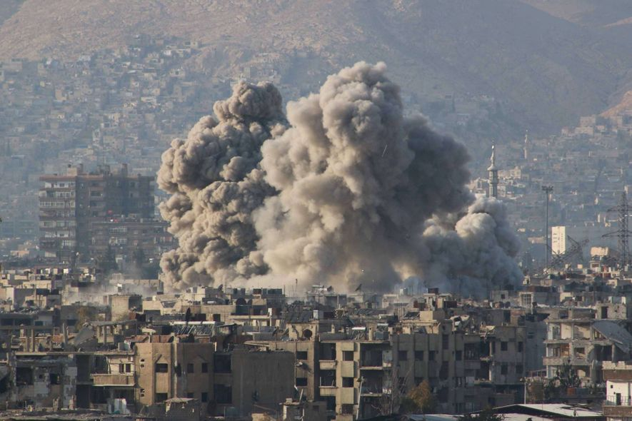 Smoke billows from a Russian airstrike on Eastern Ghouta, which was controlled by the Syrian opposition.