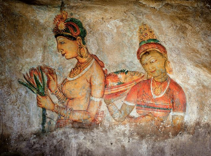 Graffiti left by medieval travelers to Sigiriya are responses to the site's extraordinary rock paintings depicting ...
