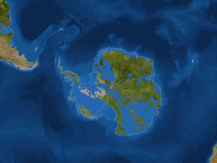 A combination of retreating ice and the resulting rising seas, this is a visualisation of what ...