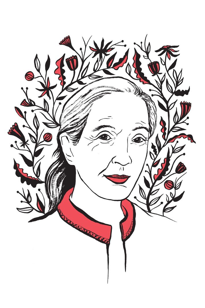 Illustration of Jane Goodall by Kimberly Glyder for the book In Praise of Difficult Women.