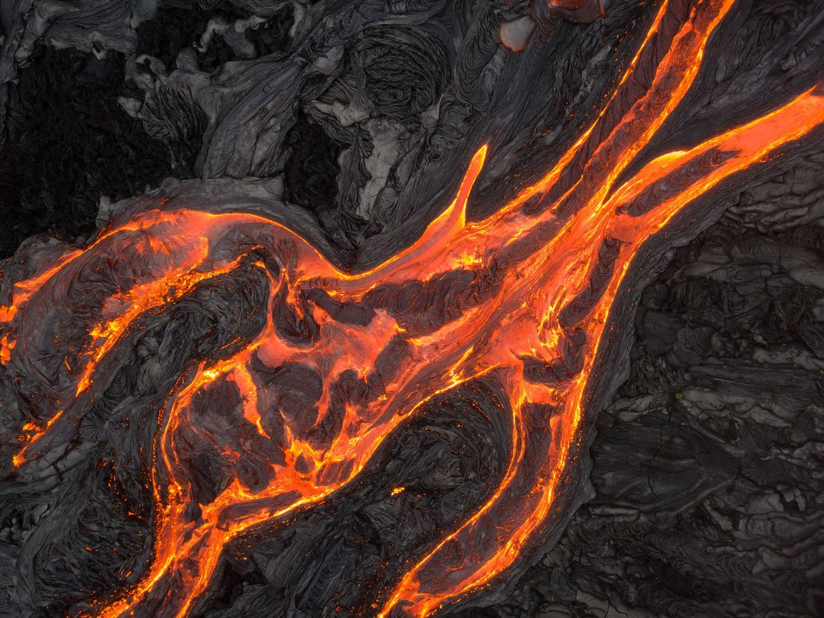 A drone captures flows from the Kīlauea Volcano from above.
