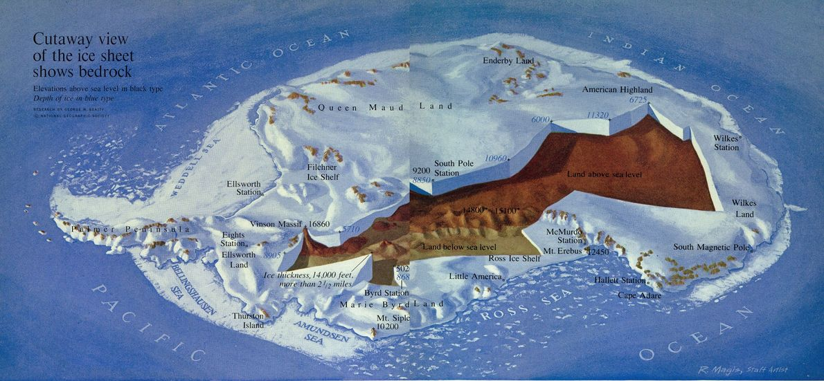 This revealing depiction of Antarctica from the February 1963 issue was based on more than 5,000 …