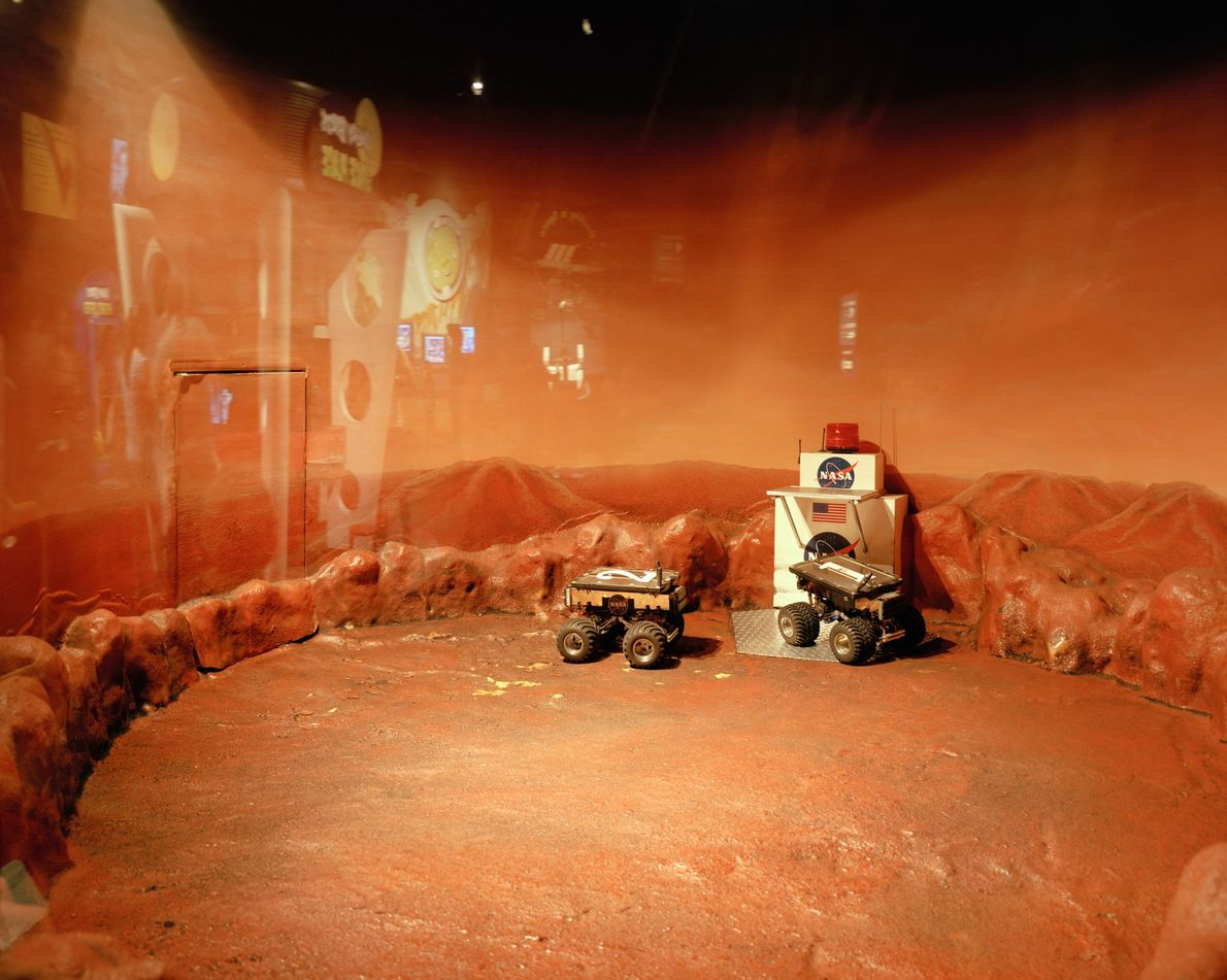 Children are able to remotely control rovers at the museum inside NASA's Johnson Space Center in ...
