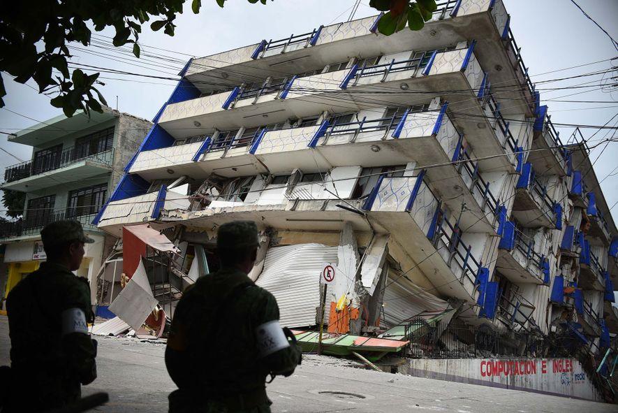 The hotel 'Ane Centro' was damaged after a 8.2 magnitude earthquake in Matias Romero, Oaxaca, Mexico.