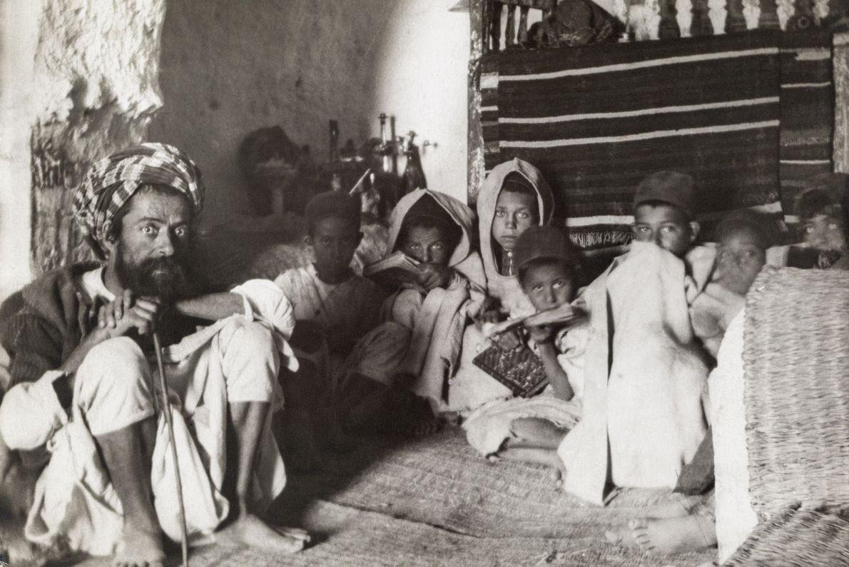 Jewish children study in a subterranean school in Matmata.