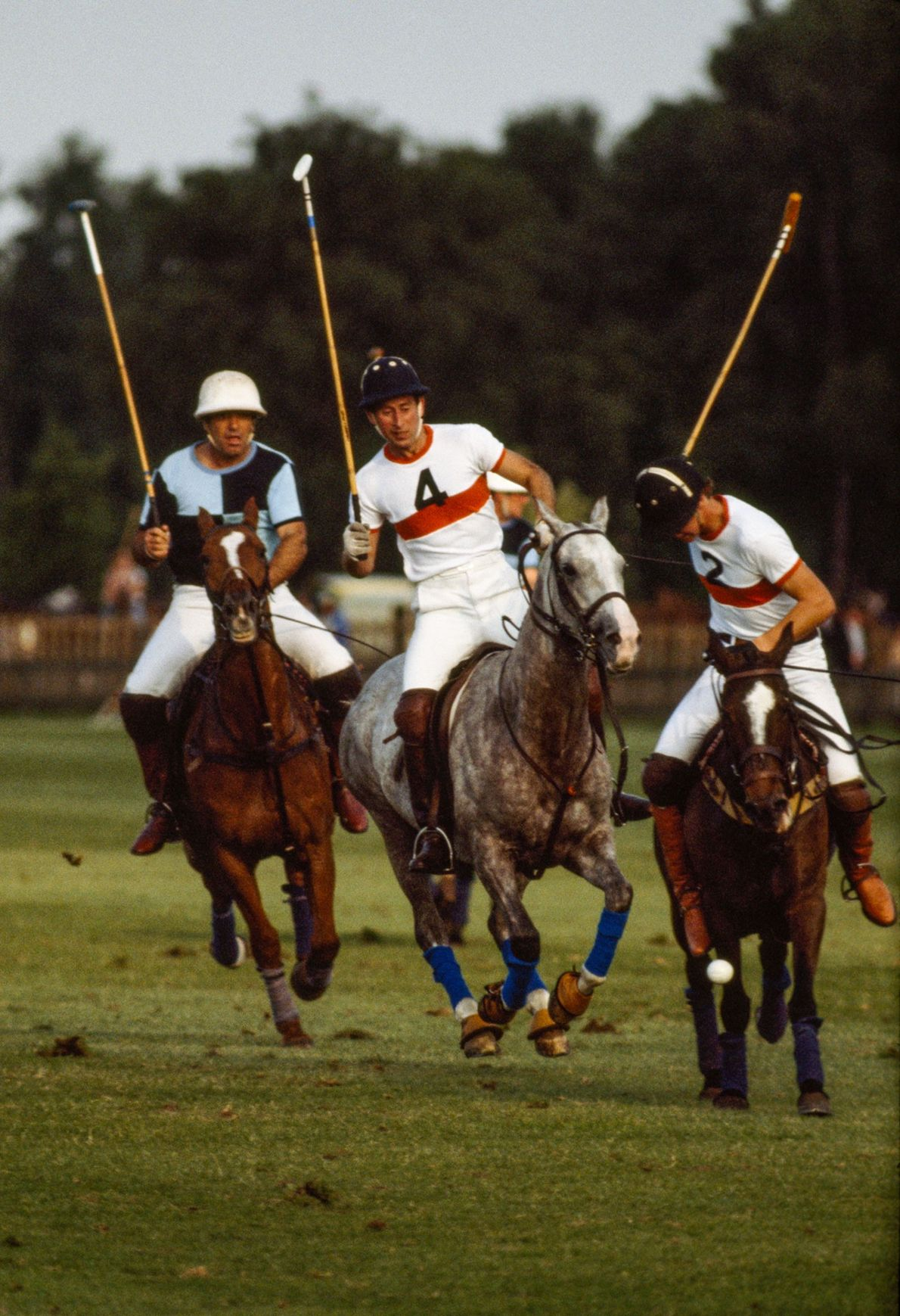 Prince Charles playing polo in Windsor, England, in 1979.