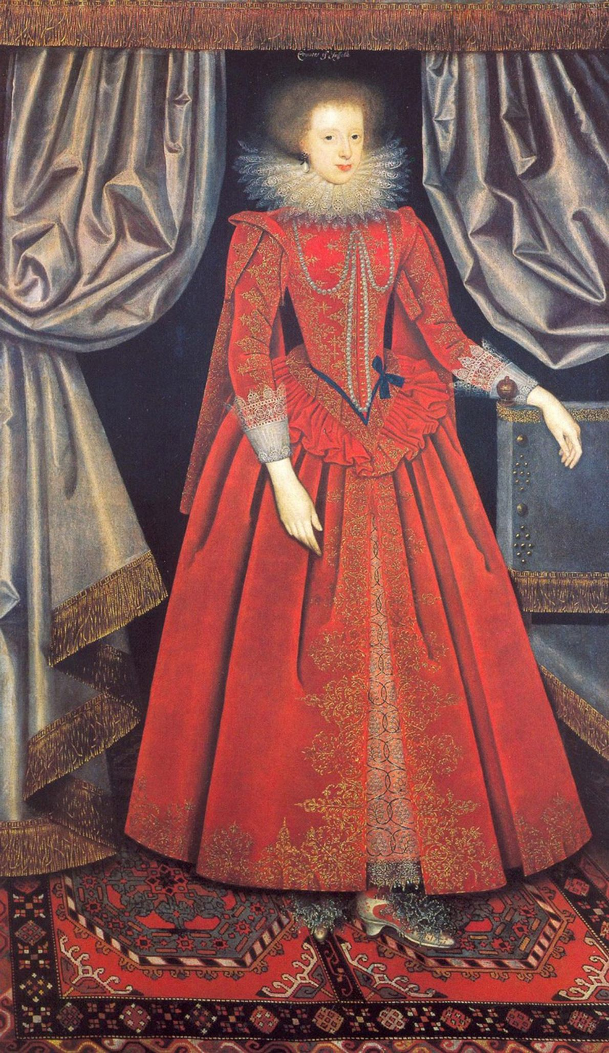 In this early 17th-century portrait, Catherine Knevet, Countess of Suffolk, wears a gown similar in appearance ...