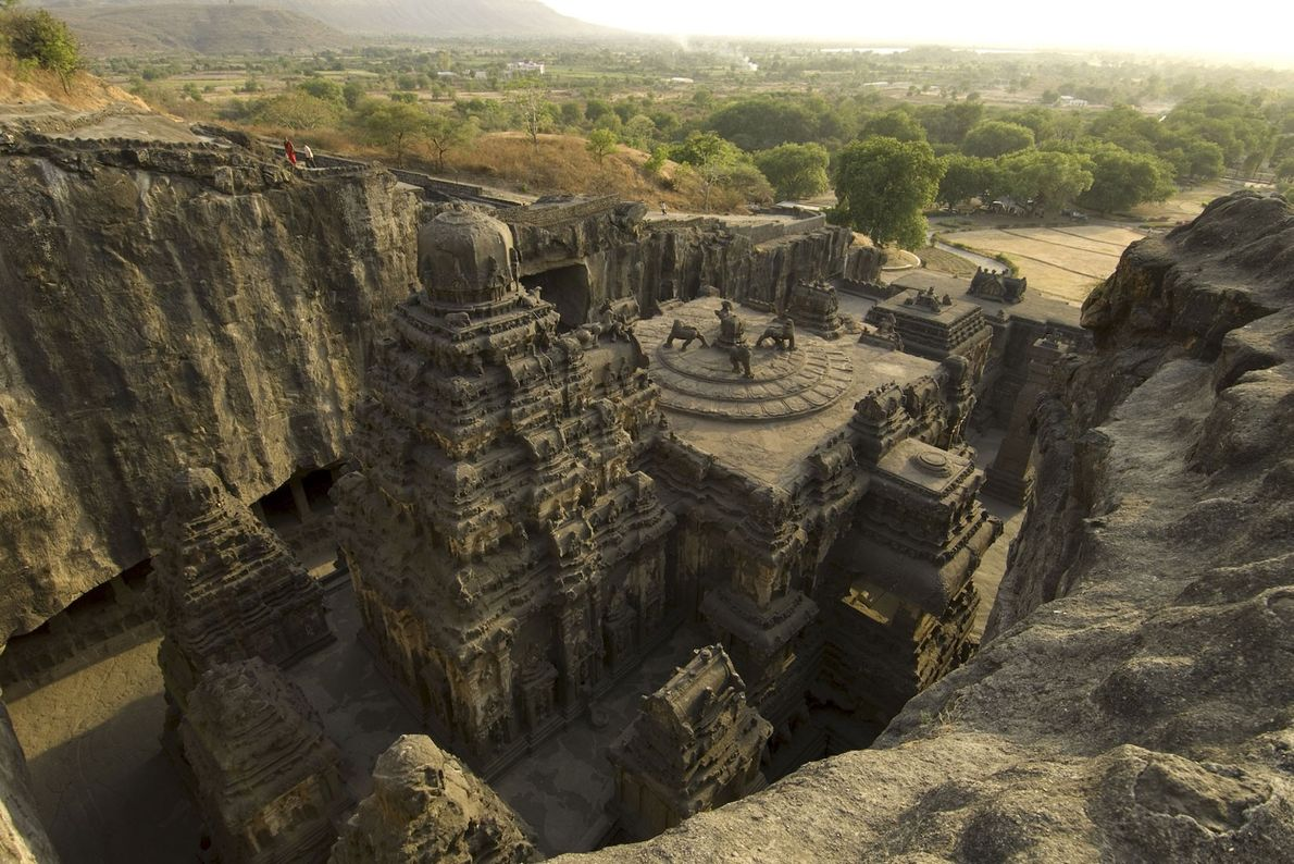 Stonemasons took decades to carve the detail-rich Kailasa temple in the 8th century A.D. It is ...