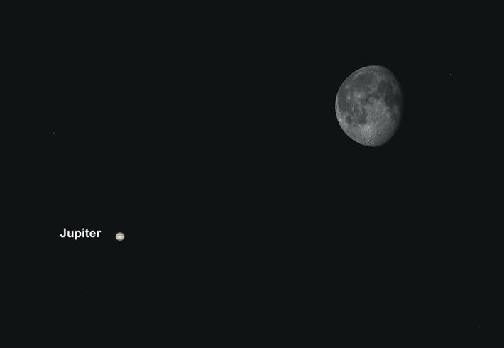 Jupiter will make a close brush past the moon on April 23, making for a prime ...