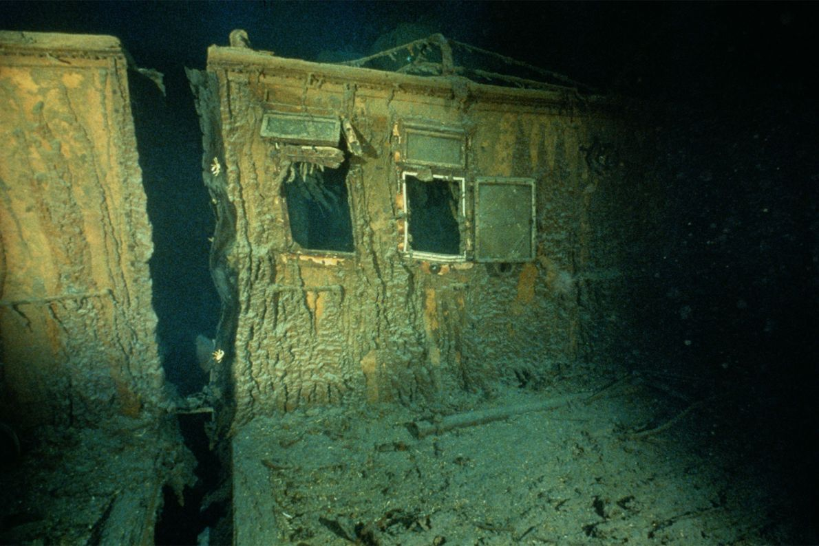 Windows are open in the officers quarters on the starboard side of the Titanic.