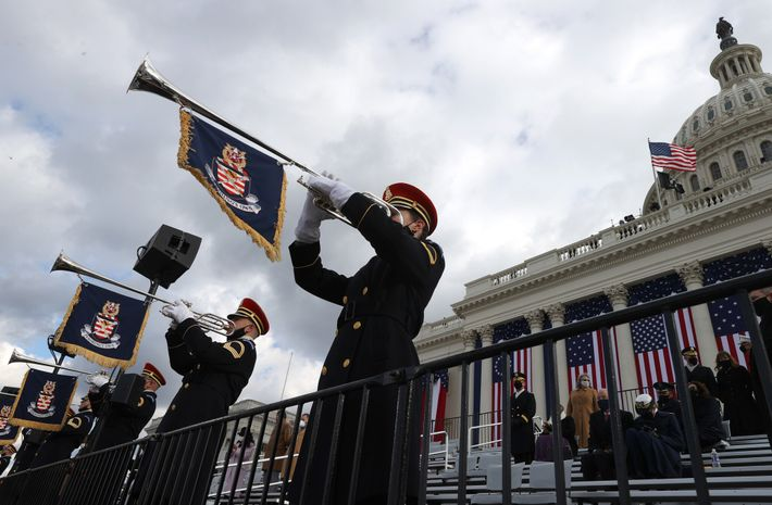 The U.S. Army Band plays during the inauguration ceremony. The tradition-filled ceremony was scaled down to ...