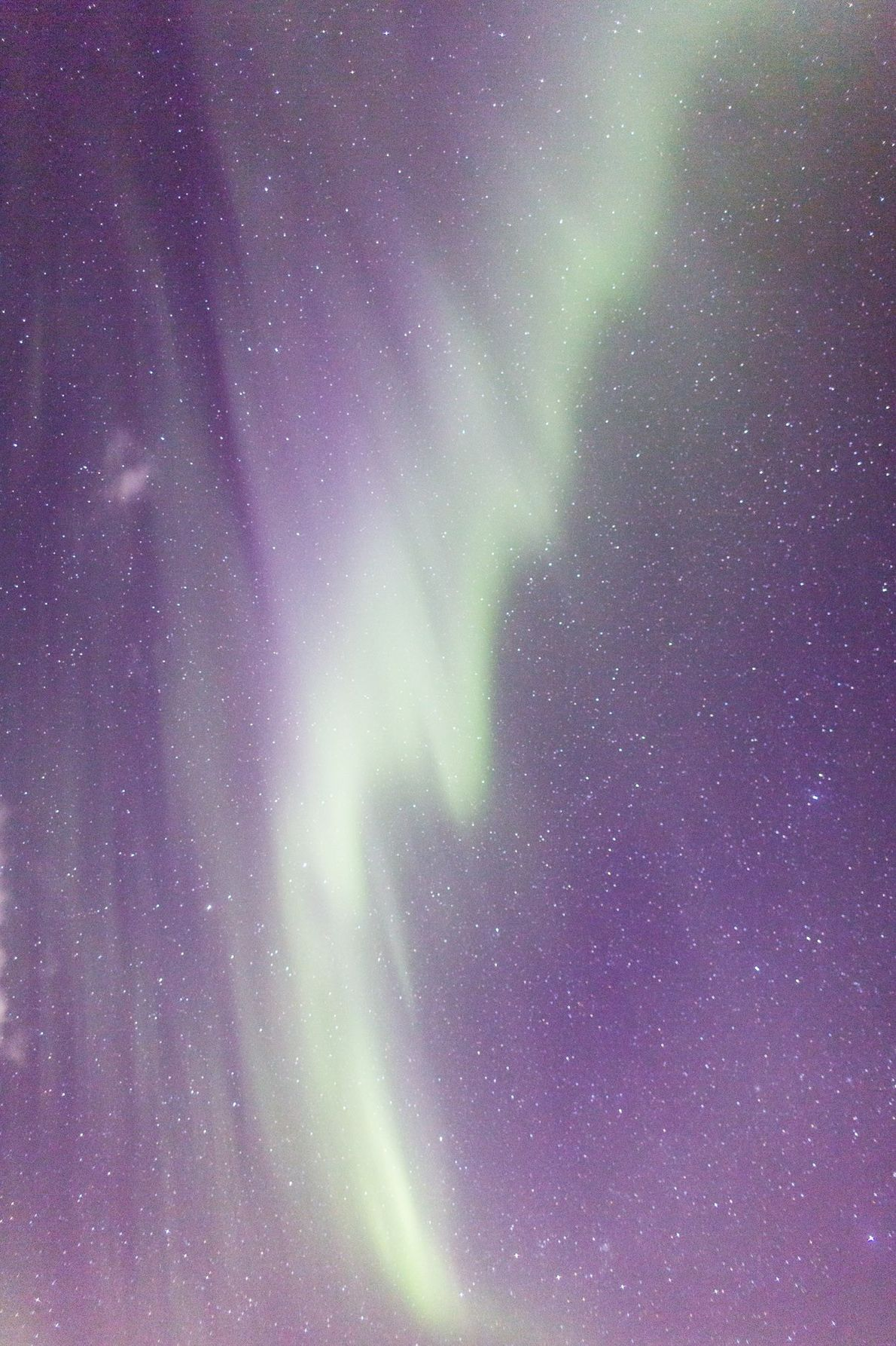 Ribbons of green paint the skies over Iceland.