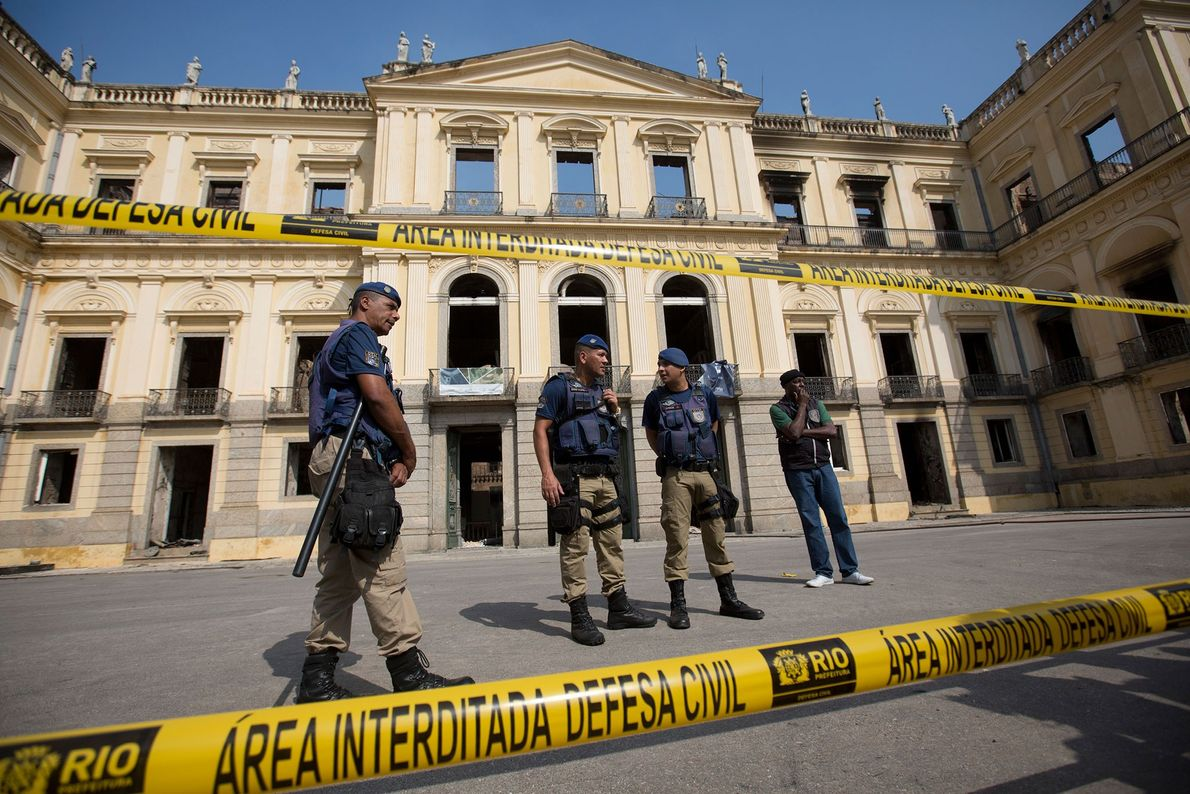 Municipality police guard the National Museum on 3rd September.