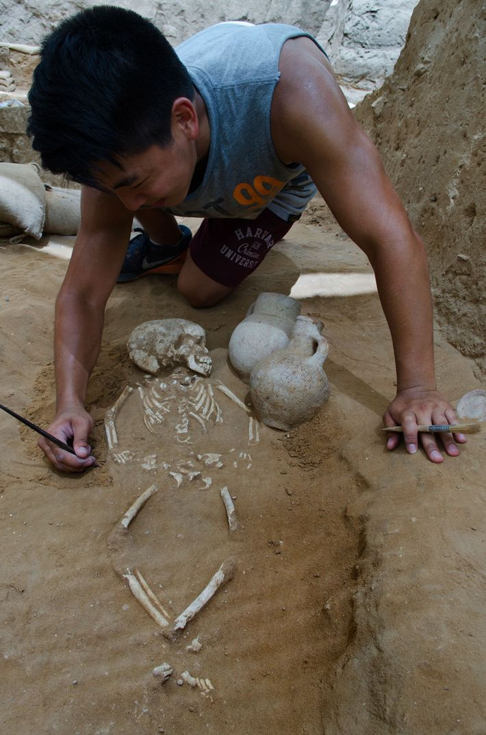 A child burial is excavated at Ashkelon. The few children and infants buried in the cemetery ...