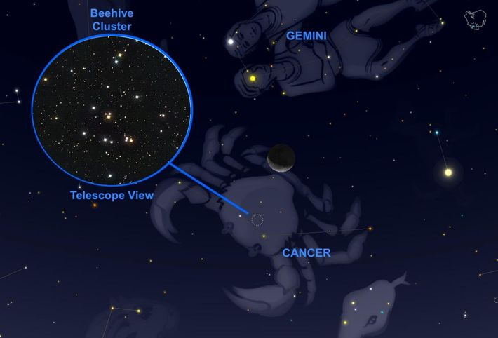On September 24, the crescent moon will graze the Beehive star cluster in the constellation Cancer.
