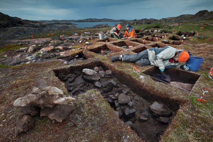 Unearthing what she believes to be a Viking outpost, archaeologist Patricia Sutherland (in orange jacket) and ...