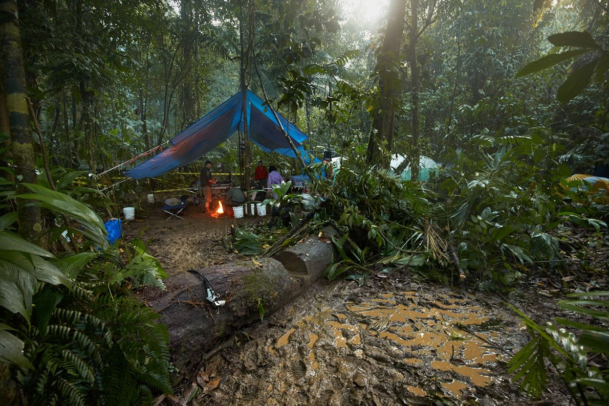 Frequent rains turned the expedition camp into a sea of mud.