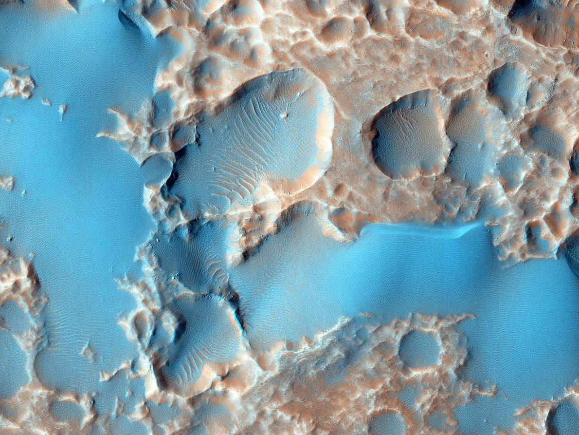 When objects crash into planets like Mars, they throw up debris called ejecta. Pockets of gas ...