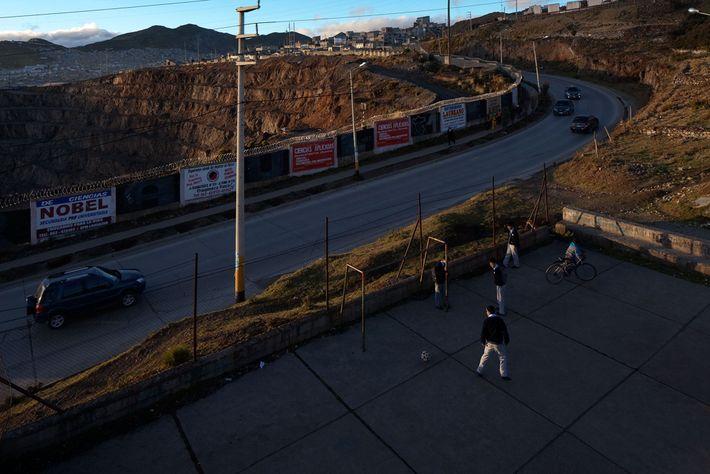 Children in Cerro de Pasco are seldom far from the mine and its waste.