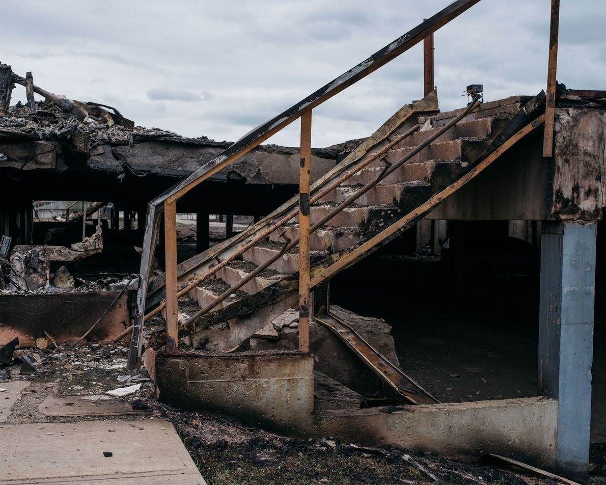 A stairway is all that remains of this apartment complex in the Abasand neighborhood.