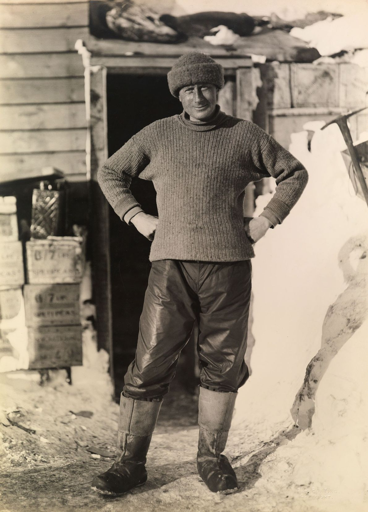 A member of the Terra Nova Expedition poses for a portrait.