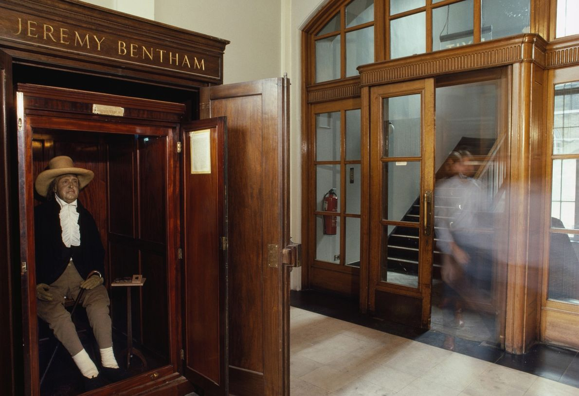 Jeremy Bentham's clothed skeleton, padded out with hay and topped with a wax head, sits in ...