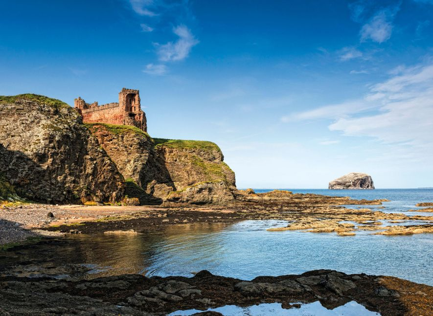 Tantallon Castle sits near North Berwick, Scotland, where witches allegedly worked to sink the ships of King James VI and his consort, Queen Anne.