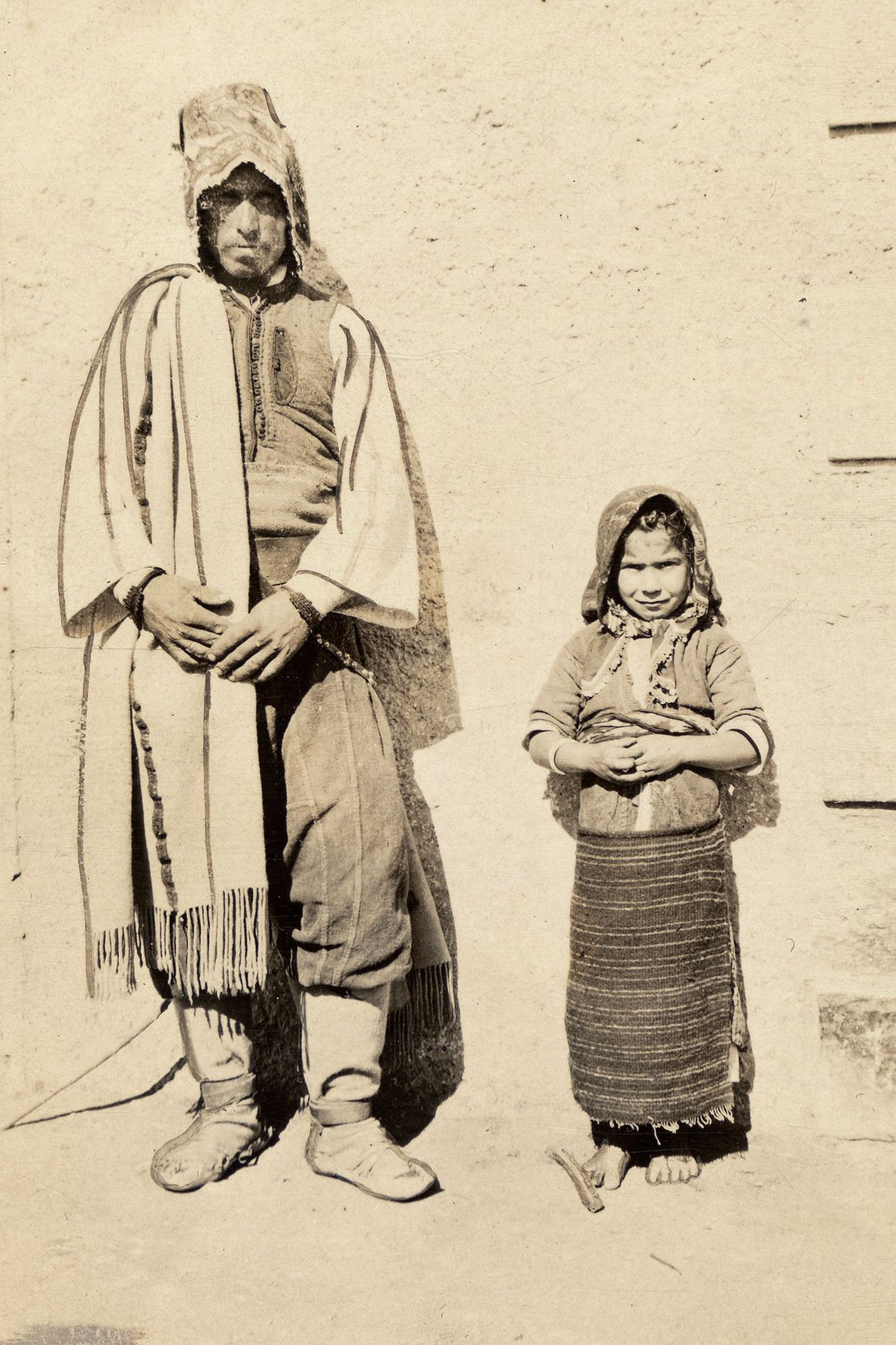 A Bulgarian father and daughter strike a similar pose in this photo from Drama, Greece.