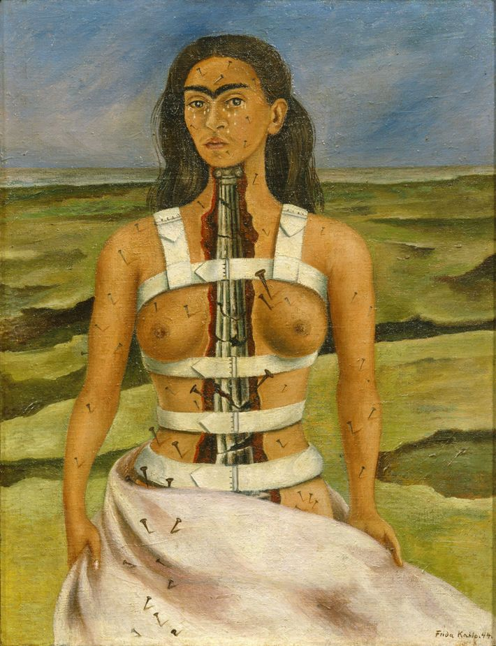 "In ""The Broken Column"", Kahlo's chest is split open revealing a crumbling column in the place ..."