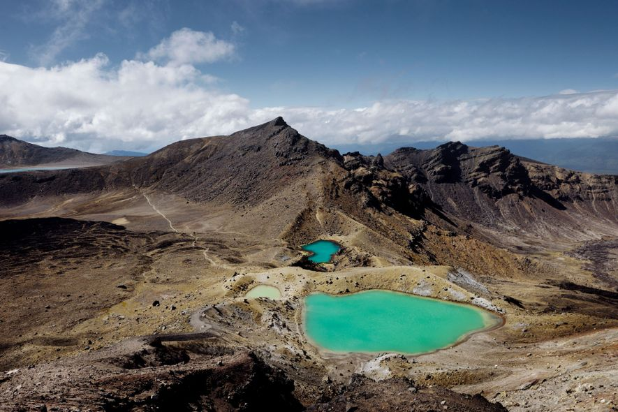 The Emerald Lakes sparkle in Tongariro National Park, New Zealand.