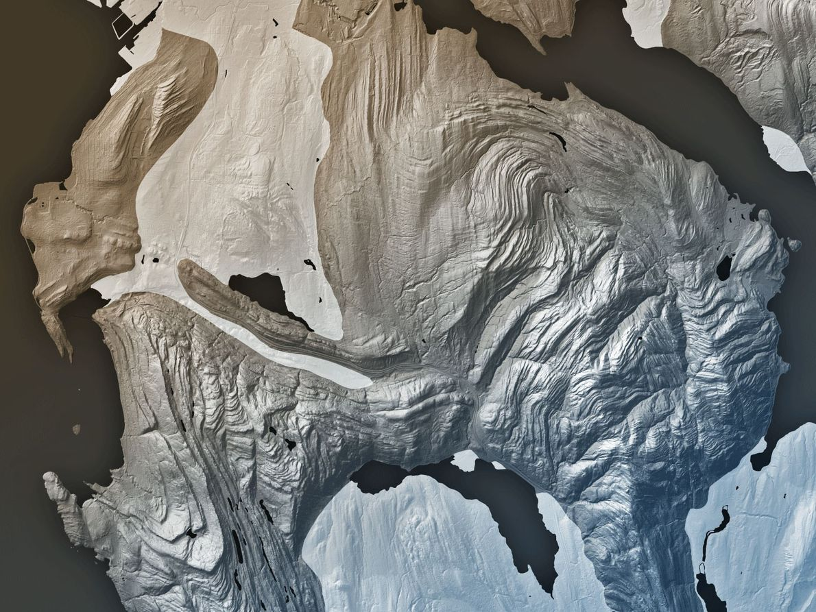 This LIDAR image shows the rock layers of the Chuckanut formation near Bellingham, Washington have been ...