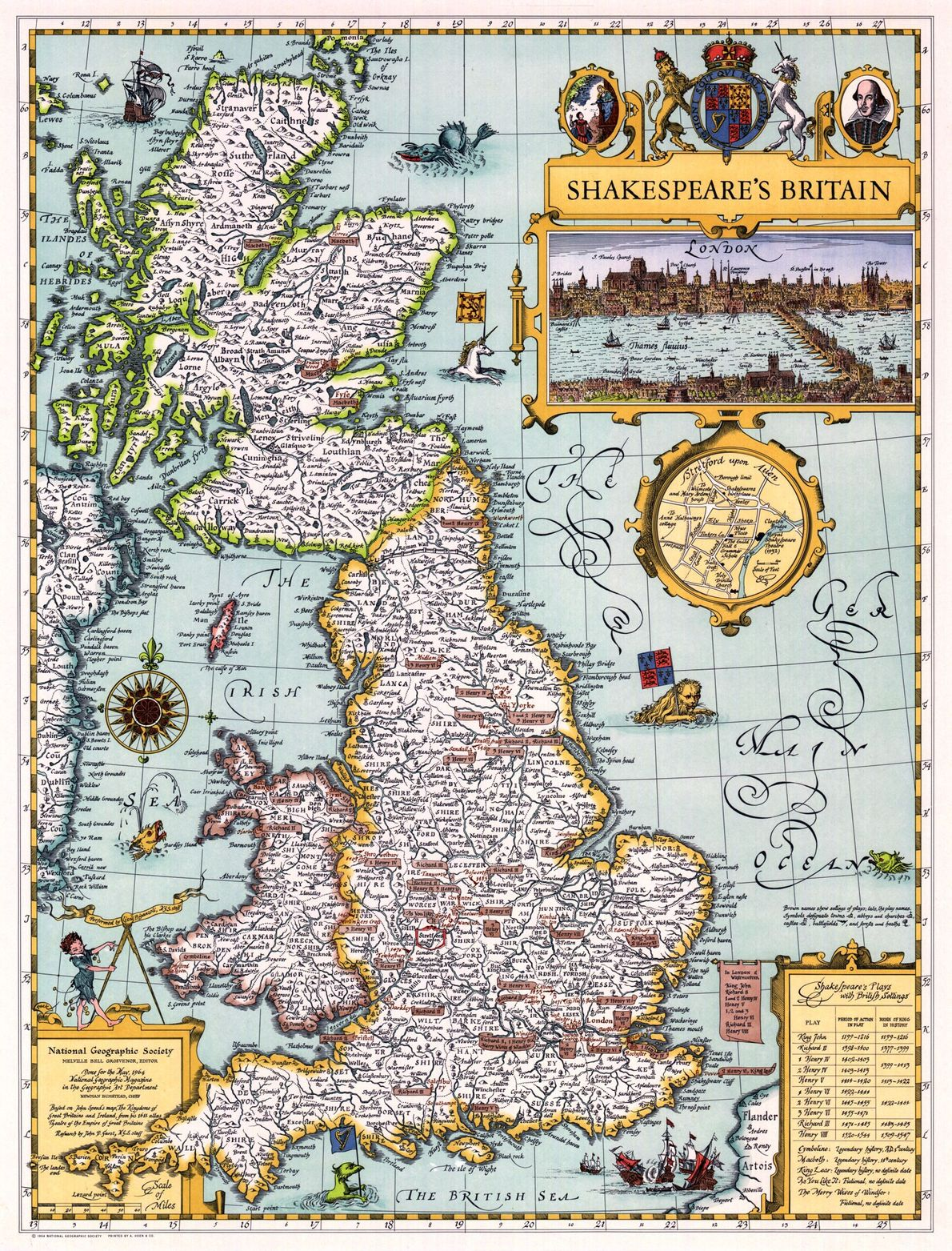 This map of Britain from May 1964 locates where the action takes place in Shakespeare's plays. …