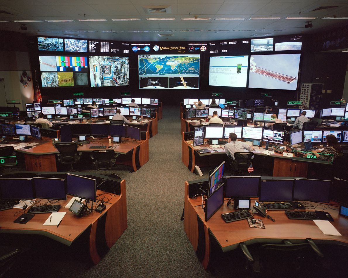 Mission Control at Johnson Space Centre monitors the International Space Station.