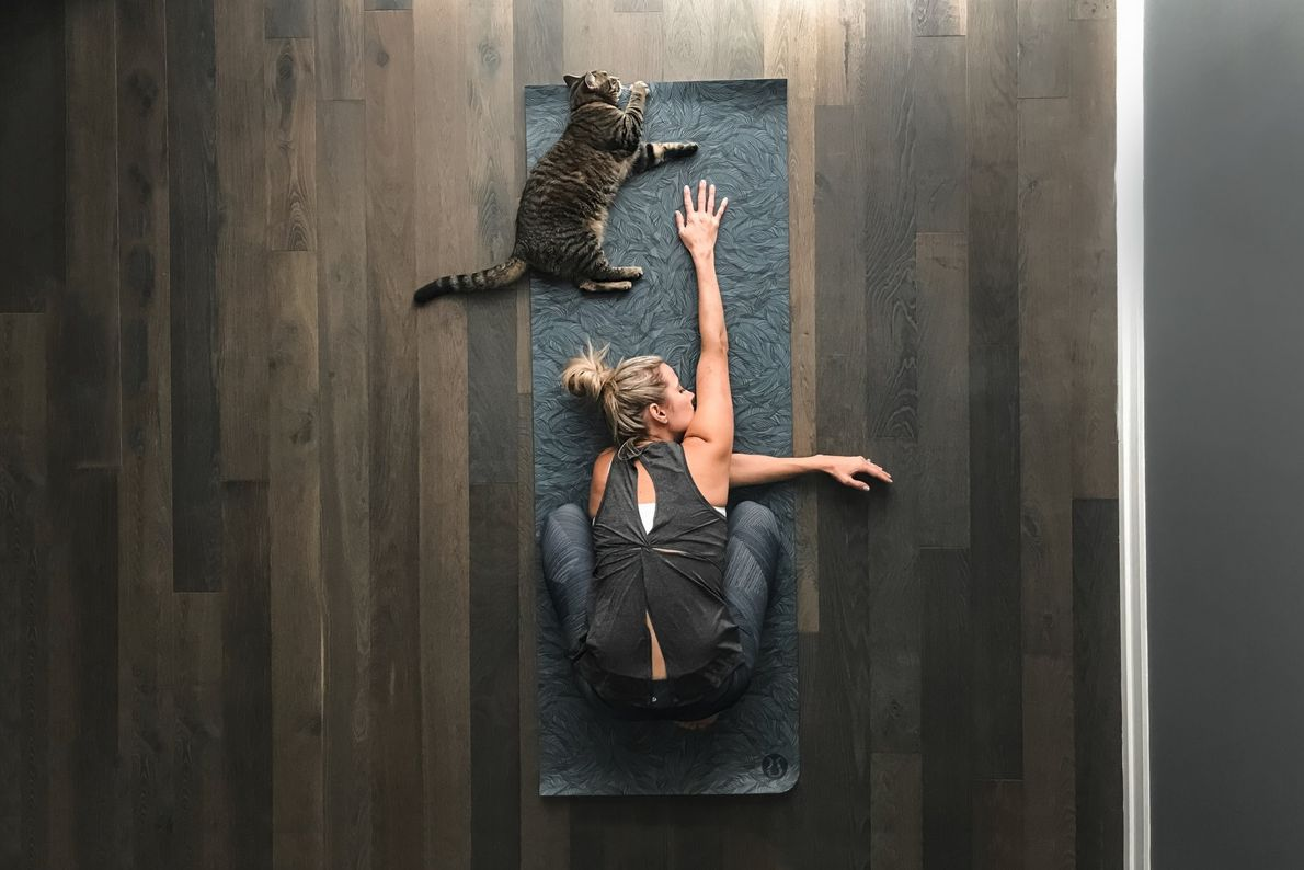 Your Shot photographer Dana Walton made this self-portrait with an iPhone while her cat joins her ...