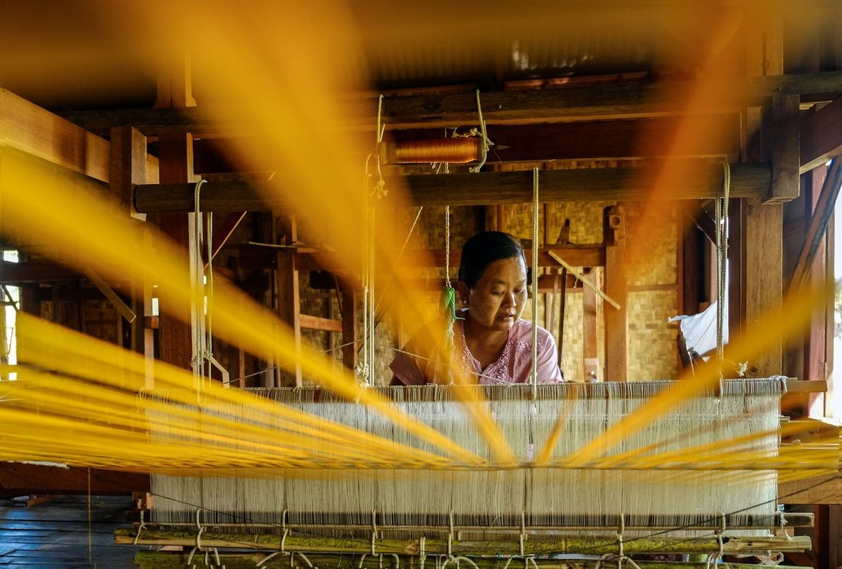 """""""A lotus weaver in her rustic workshop at Paw Khon floating village,"""" writes Your Shot photographer ..."""