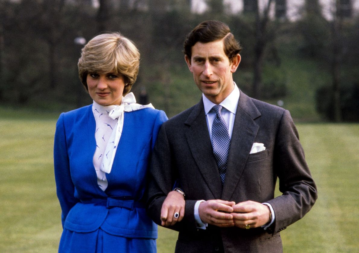 Prince Charles and Lady Diana Spencer at Buckingham Palace after announcing their engagement on February 24, ...