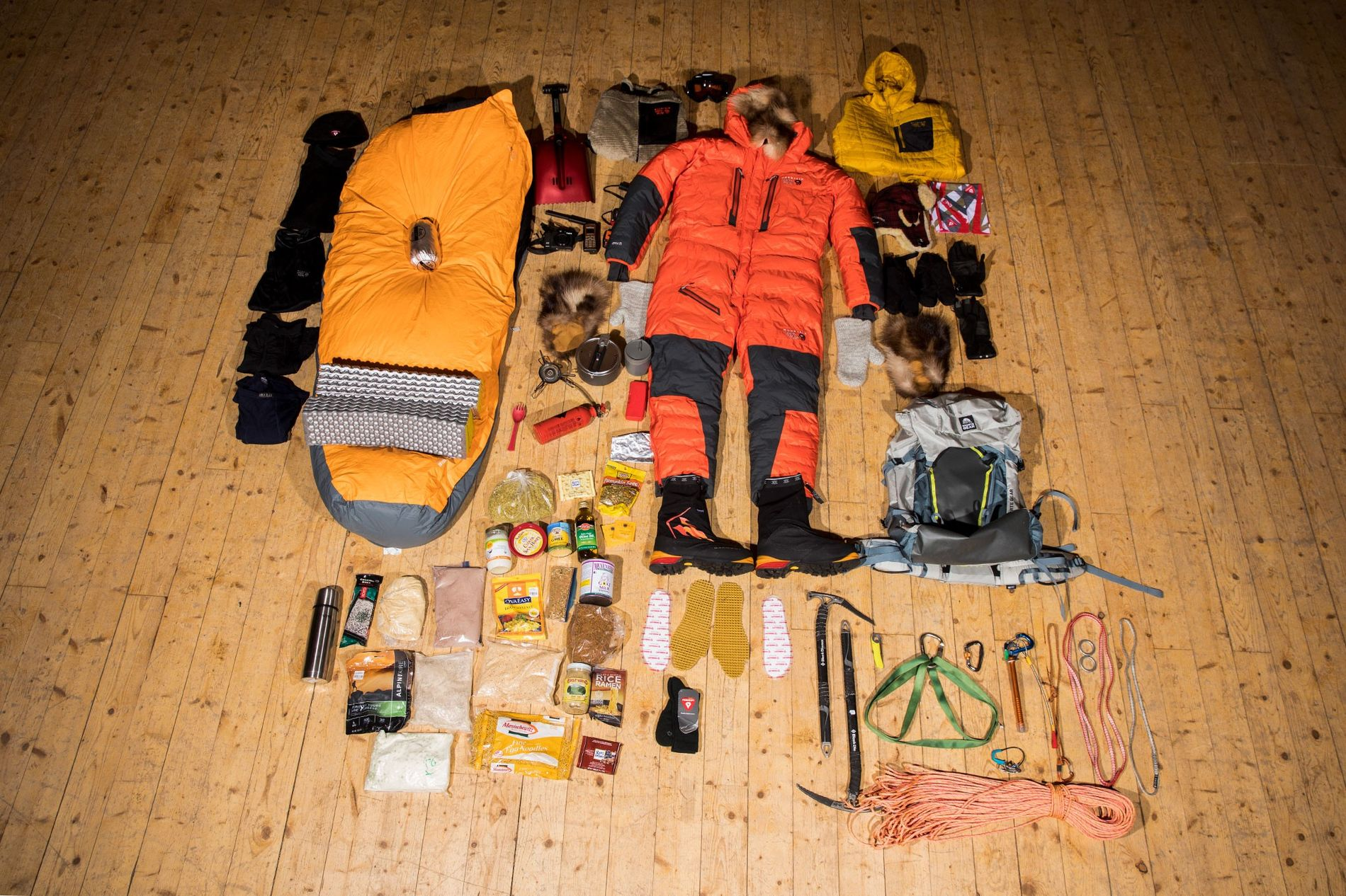 For a 19-day climb up Alaska's Mount Hunter, Arctic explorer Lonnie Dupre will carry 27kg of food, supplies, and equipment, much of it pictured above. He uses gramme and bathroom scales to monitor weight.