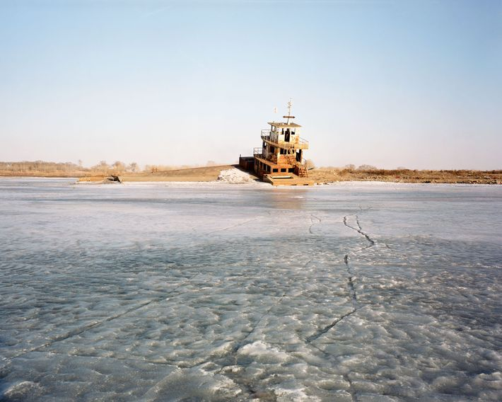 A ferry on the Bai River in Fularji was remodelled into a restaurant after it was ...